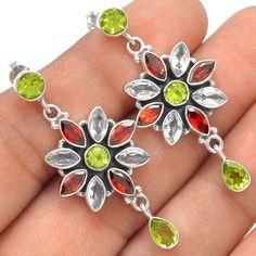 Peridot, Garnet & White Topaz 925 Sterling Silver Earrings Jewelry SE121094 | eBay