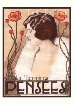Fine art original Art Nouveau painting drawing mixed by TuuliArt, €131.04