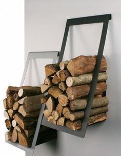 Wood Storage Ideas in the House -- Holzlager Ideen im Haus – Wooden storage ideas in the house - Firewood Holder, Firewood Storage, Lumber Storage, Into The Woods, Scandinavia Design, Log Holder, Furniture Design, Cabin Furniture, Western Furniture