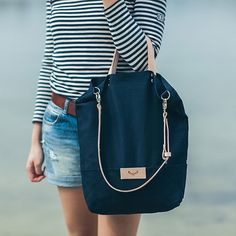 Navy blue, cotton tote handbag SEAL / natural leather handles and strap