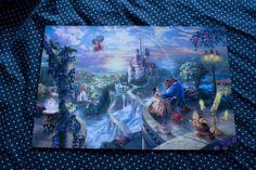 Thomas Kinkade Disney Beauty and The Beast Falling in Love 8x12 Print | eBay $35