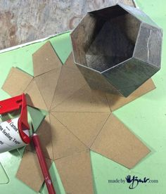 Concrete Geometric Polyhedron container free pattern downloadable
