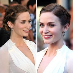 Braids will be your best friend when you're trying to get hair out of your face. Emily Blunt shows off some beautiful Dutch braids that culminate in a small chignon at the nape of her neck. To get wide braids like Emily's without much hair, gently pull at the sides of the braid until they are the width you want.