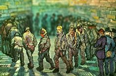 Prisoners Exercising, Van Gogh, 1890  Serena Malyon, a 3rd year art student, collected some of Van Gogh's most beautiful paintings and altered them in Photoshop to achieve this amazing tilt-shift effect.