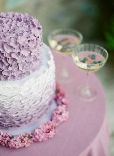 Lavender hued cake: http://www.stylemepretty.com/2015/06/30/glamorous-french-riviera-wedding-2/ | Photography: Greg Finck - http://www.gregfinck.com/