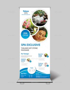 Spa Roll up Banner - Graphic Nitro Pull Up Banner Design, Standing Banner Design, Pop Up Banner, Design Logo, Spa Design, Flyer Design, Banner Sample, Banner Template, Card Templates