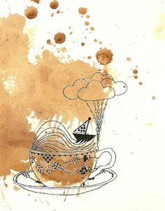 Continuing with the tea theme I give you 'Storm In A Tea Cup'. (Tea and Ink)  #PinTeaTuesday