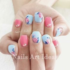 I gel nail designs, short nail designs, nail designs spring, flower nail de Flower Nail Designs, Short Nail Designs, Nail Designs Spring, Nails With Flower Design, Gel Nail Art Designs, Makeup Designs, Nails Design, Spring Nail Art, Spring Nails