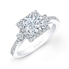 NK20305-W 14k White Gold Square Halo Princess Cut Diamond Engagement Ring #Princesse