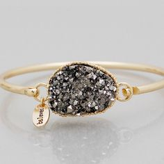 Grey faux Druzy bracelet New! Gold tone 2.5 inch diameter hook bangle. This is not from my handmade Druzy style collection. Bundle and save 15%. No trades. Price firm if not bundled. Jewelry Bracelets