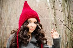 Womens Cranberry Red Pixie Hat - Chunky Knit Ear Flap Hat - Womens Accessories Fall Fashion Winter Hat - READY TO SHIP