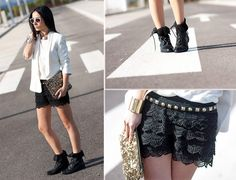 BLACK CROCHET SHORTS and GOLDEN NECKLACE (by WOWS Withorwithoutshoes.com) http://lookbook.nu/look/3388545-BLACK-CROCHET-SHORTS-and-GOLDEN-NECKLACE