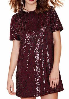 Wine Red Plain Sequin Zipper Dress