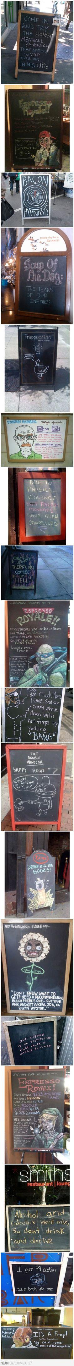 Creative Chalkboard Restaurant/Coffee House Signs