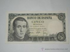 billete españa de 5 pesetas madrid 10 de Agosto 1951 sin circulacion serie j
