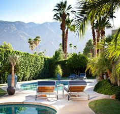 Palm Springs — Bradley Bayou Design San Jacinto Mountains, Desert Colors, Outside Patio, Desert Oasis, Outdoor Spaces, Outdoor Decor, Open Up, Palm Springs, The Great Outdoors