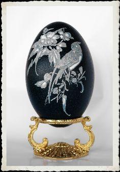 Faberge style eggs, hand painted egg art, blown emu eggs, blown rhea eggs