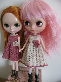 Doll Clothes Crochet Dress for Blythe Momoko by toyestinytreasures