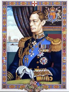In1938 King George VI was painted by Arthur Szyk in the illuminated style with an intricate, richly designed border pattern and a profusion of traditional iconography representing Great Britain.