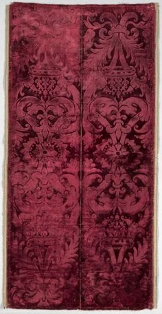 Procurator's Velvet Stole, c. 1575- 1600 Italy, Venice, late 16th century dyed silk; velvet in two heights of cut pile (pile on pile, alto e basso), woven as two stole widths, Overall - h:142.24 w:69.85 cm (h:56 w:27 1/2 inches). Bequest of John L. Severance 1942.829