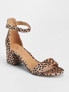 25c04a97fbf Gap Womens Block Heel Sandals Cheetah Brown Block Heels Outfit