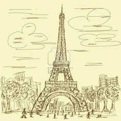 vintage hand drawn illustration of Eiffel tower, Paris France