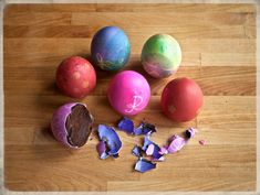 Chocolate eggs in real shells
