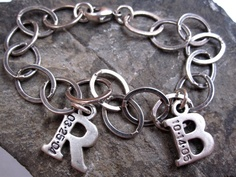 Mommy bracelet TWO letters Hand stamped jewelry initial charm bracelet. $84.00, via Etsy.