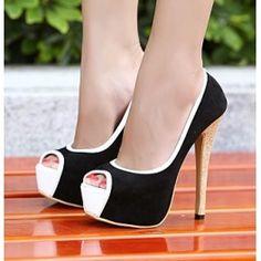 Platform peep toe sexy color blocked ladies high heel BLACK $29.99