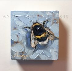 """""""Blue Bumble"""", 3""""x3"""", oil, by Andrea Lavery"""