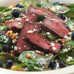 Must try! Spinach Salad with Steak & Blueberries - this dressing sounds interesting with nuts, blueberries, shallots, and oil.