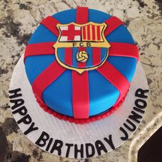 Barcelona Soccer Cake Barcelona Soccer Party, Barcelona Cake, Pastel Del Barcelona, Soccer Cake, Themed Cupcakes, Birthday Parties, Birthday Cakes, Diy Cake, Cakes For Boys