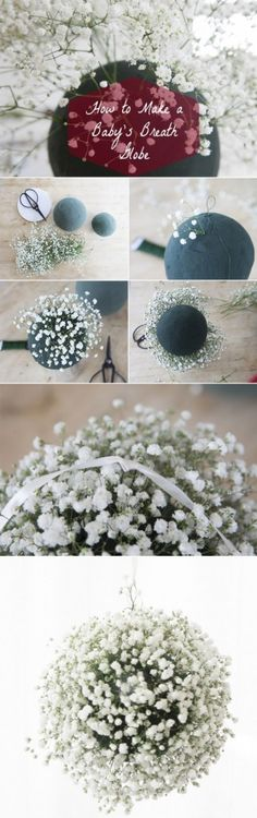 Love this! How to make a baby's breath diy wedding floral ball step by step