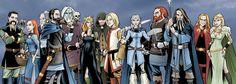 L-R Frey, Valkyrie, Idunn, Bragi, Tyr, Mimir, Hel, Hod, Balder, Skadi, Thor, Odin, Loki, Freyja