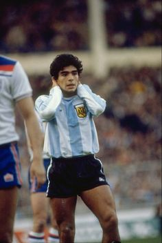 Diego Maradona during his first match against England. Wembley Stadium, May 13, 1980. Friendly, England v Argentina (3-1).  Source: IBN Live