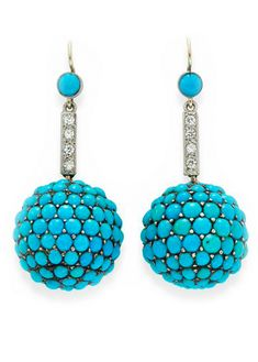 A PAIR OF ANTIQUE TURQUOISE AND DIAMOND EAR PENDANTS Each suspending a cabochon turquoise ball, to the circular-cut diamond and turquoise surmount, mounted in platinum and gold, circa 1900.