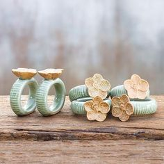 Celadon ceramic napkin rings, 'Vanda Orchid' (set of 6). Shop from #UNICEFMarket and help save the lives of children around the world.