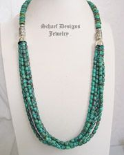 Schaef Designs Large Green Turquoise Nugget & Sterling Silver Necklace | New Mexico
