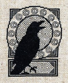 This unique design combines blackwork and counted cross stitch chart is 65 stitches by 85 stitches Listing is for a PDF of Chart ONLY. Pagan Cross Stitch, Blackwork Cross Stitch, Blackwork Embroidery, Cross Stitch Bird, Cross Stitch Borders, Cross Stitch Charts, Cross Stitching, Cross Stitch Embroidery, Embroidery Patterns