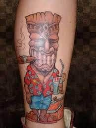 Tiki Tattoo 31 Pin Up Tattoos, Girl Tattoos, Tattoos For Guys, Tatoos, Hot Rod Tattoo, Tattoo Ink, Tropical Tattoo, Tiki Tattoo, Sun Tattoo Designs
