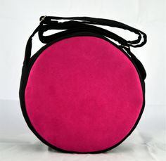 Handmade PINK Handbag, unique round bag for ladies, handmade of cotton and faux suede by YapokBags on Etsy