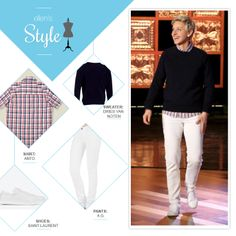 Ellen's Look from her Live Show: navy sweater, red plaid button up shirt, white jeans and white sneakers