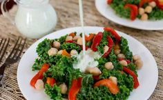 Superfast Kale Chickpea Salad with Tzatziki Dressing | Eat Clean