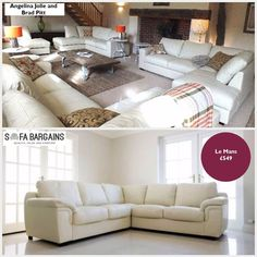 CELEBRITY SPOTTED ALERT! Why not create a love nest like Brad Pitt and Angleina Jolie's house. You can find a similar sofa to the one they own. Check out the Le Mans Leather Corner sofa here http://ift.tt/1OSAtoV