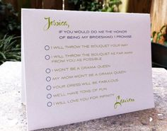 Customize this card for each of your bridesmaids by checking off your vows to her. This is just so cute and funny! Be My Bridesmaid Cards, Will You Be My Bridesmaid, Bridesmaids, Bridesmaid Dresses, Wedding Roles, Quinceanera Invitations, Bridesmaid Invitations, Wedding Invitations, Sweet Sixteen Parties