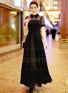 Kleider - $108.20 - Polyester kurze Hülse Maxi Lässige Kleidung Kleider…