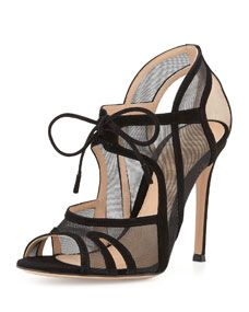 Gianvito Rossi Suede and Mesh Tie-Front Sandal