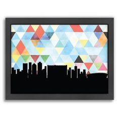 """Americanflat """"Cape Town Triangle"""" by PaperFinch Framed Wall Art, Multicolor"""