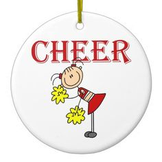 A female stick figure cheerleader with a red cheering uniform and yellow pom poms and red text that reads CHEER on cheerleading T-shirts, mugs, cards, tote bags, magnets, pillows, mousepads, journals, and other cheerleader apparel and gifts.