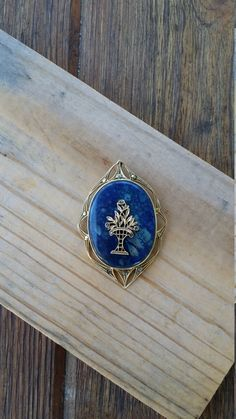 Vintage art deco Sterling silver pendant blue lapis stone marcasite pendant gold plate tree motif 1930's EP500 - pinned by pin4etsy.com